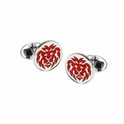 Hand-Painted Enamel Lion Round Sterling Silver Cufflinks Sale Only Jan Leslie Red Jan Leslie