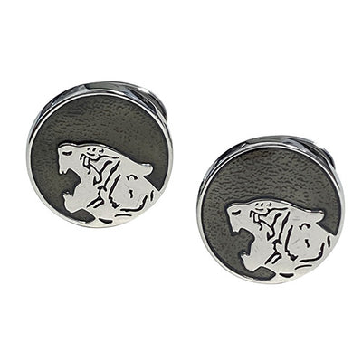 Roaring Tiger Silhouette Sterling Silver Cufflinks DISCONTINUED Jan Leslie Gray Jan Leslie