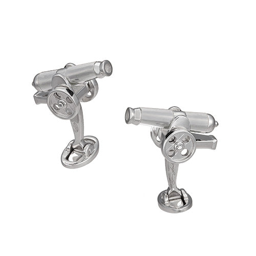 Moving Cannon Cufflinks with Onyx Inlay - Jan Leslie Cufflinks and Accessories