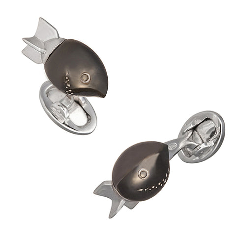 Smiling Torpedo Cufflinks with Gunmetal Finish and Moving Propellers