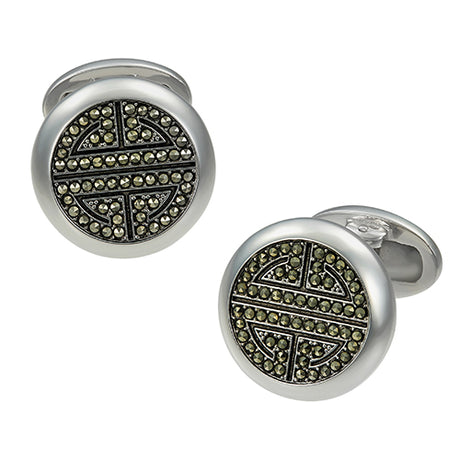 Greek Key Button Cufflinks with Marcasite Accents - Jan Leslie Cufflinks and Accessories