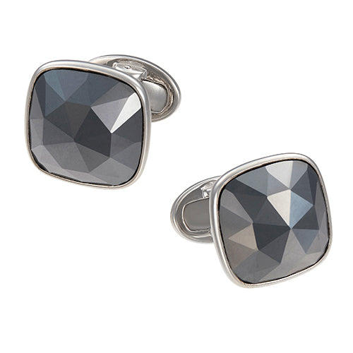 Soft Square Faceted Cufflinks in Hematite