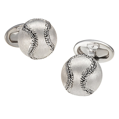 Brushed Silver Baseball Cufflinks - Jan Leslie Cufflinks and Accessories