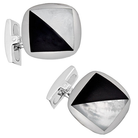 Mother of Pearl and Black Onyx Cufflinks - Jan Leslie Cufflinks and Accessories