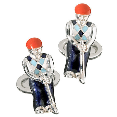 Swinging Argyle Golfer Cufflinks