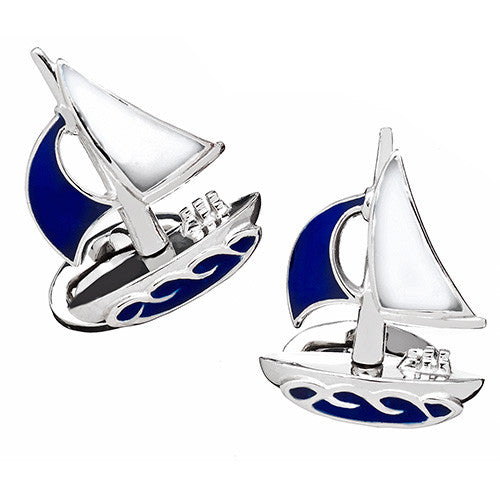 Sailboat Cufflinks in Blue and White Enamel by Jan Leslie