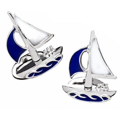 Blue Moving Sailboat Cufflinks