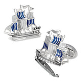 Blue Treasure Ship Cufflinks by Jan Leslie