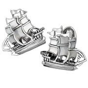 Mother-of-Pearl Treasure Ship Cufflinks by Jan Leslie