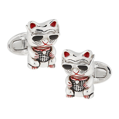 Sterling Silver Good Luck Cat Cufflinks - Jan Leslie Cufflinks and Accessories
