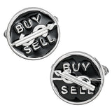 Wall Street Buy or Sell Spinning Novelty Cufflinks by Jan Leslie