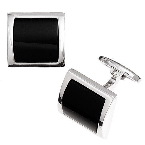 Grey Hematite Curved Square Gemstone Cufflinks by Jan Leslie
