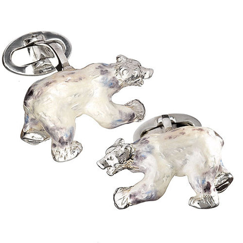 Enamel Polar Bear Cuff Links