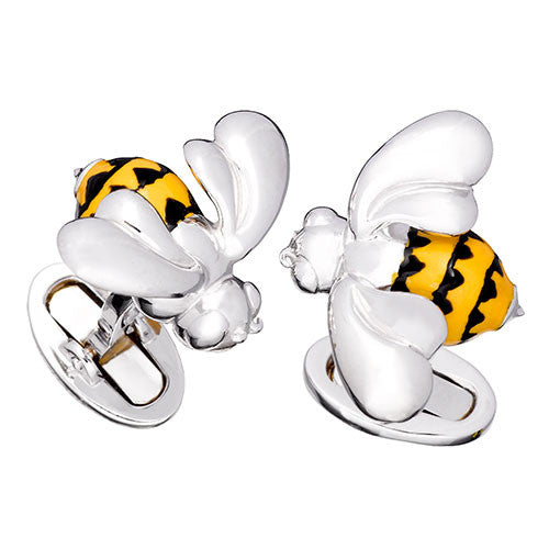 Bumble Bee Enamel Cufflinks by Jan Leslie