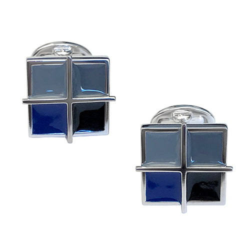 Square Grid Sterling Silver Cufflinks