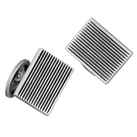 Silver Antique Finish Striped Rectangle Cufflinks