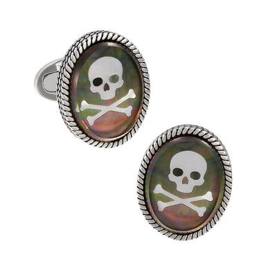 Skull Cameo Oval  Doublet Cufflinks - Jan Leslie Cufflinks and Accessories