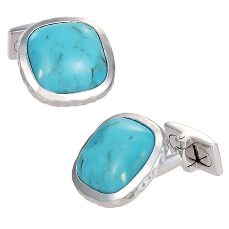 Silver and Turquoise Western Cufflinks - Jan Leslie Cufflinks and Accessories