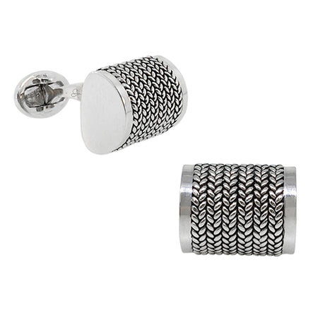 Domed Rectangle Cufflinks with Antiqued Finish - Jan Leslie Cufflinks and Accessories