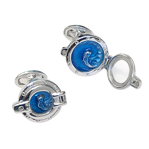 Porthole Sterling Silver Cufflinks