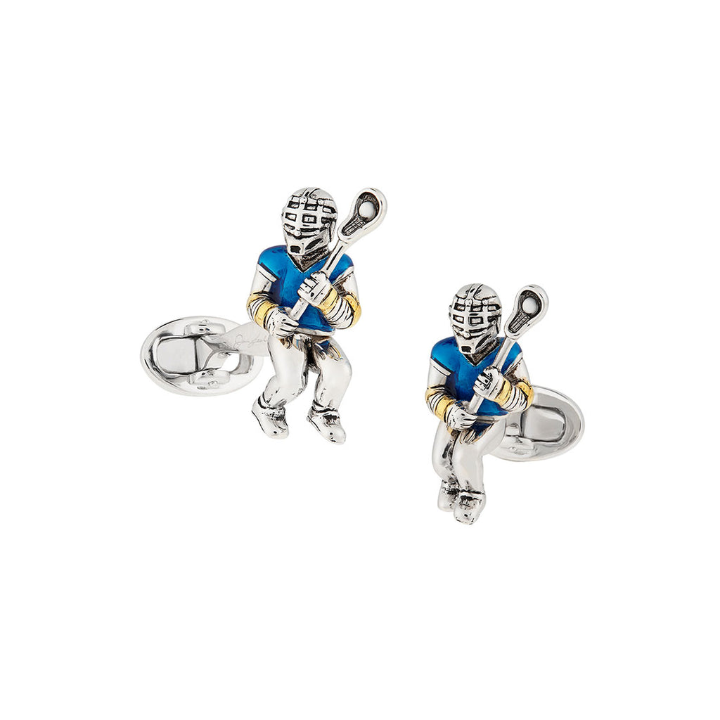 Sterling Silver Lacrosse Player Cufflinks