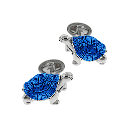 Translucent Blue Tortoise Sterling Silver Cufflinks