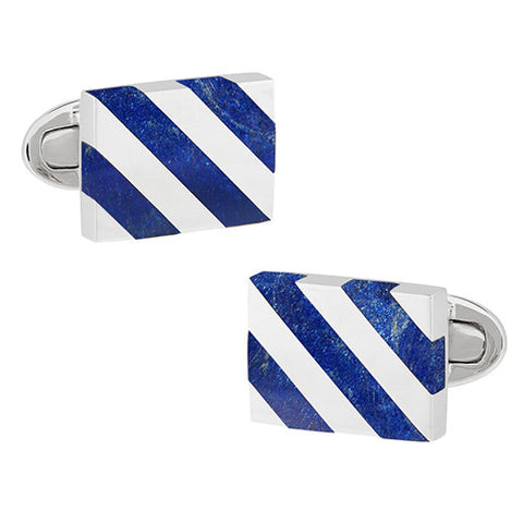 Royal Blue Art Deco Flower Cufflinks