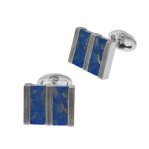 Blue Lapis Button Cufflinks with Laser Cut Wave
