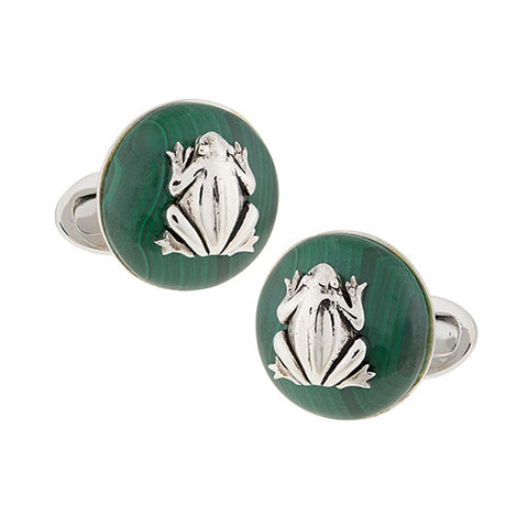Crescent Moon Gemstone Button Cufflinks