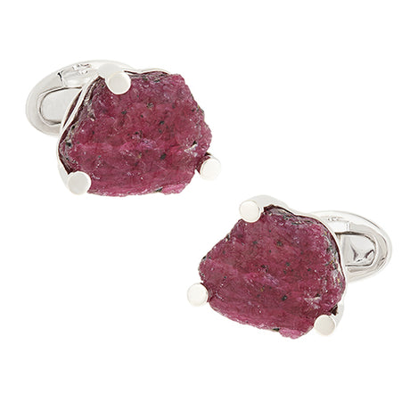 Ruby Slice Sterling Silver Cufflinks - Jan Leslie Cufflinks and Accessories