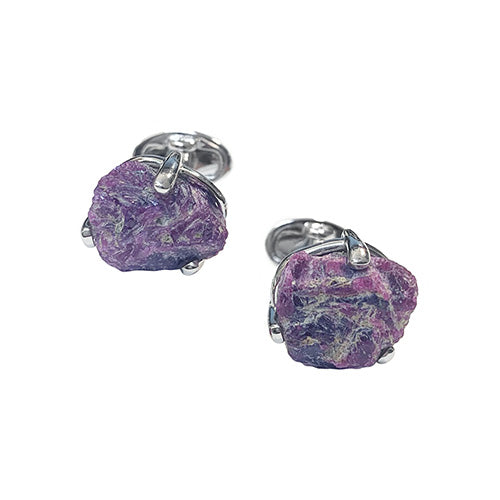 Raw Ruby Gemstone Sterling Silver Cufflinks