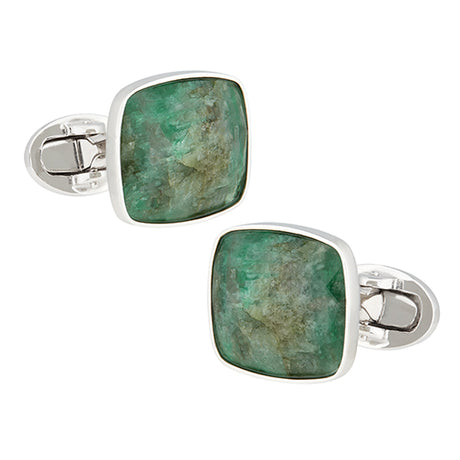 Faceted Emerald Sterling Silver Cufflinks - Jan Leslie Cufflinks and Accessories