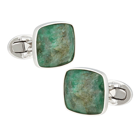 Faceted Emerald Sterling Silver Cufflinks