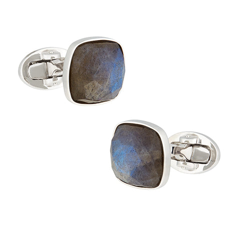 Labradorite Faceted Soft Square Sterling Silver Cufflinks - Jan Leslie Cufflinks and Accessories