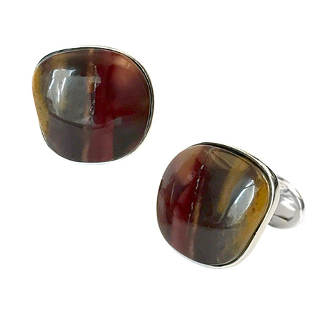 Mookaite Jasper Sterling Silver Cufflinks - Jan Leslie Cufflinks and Accessories