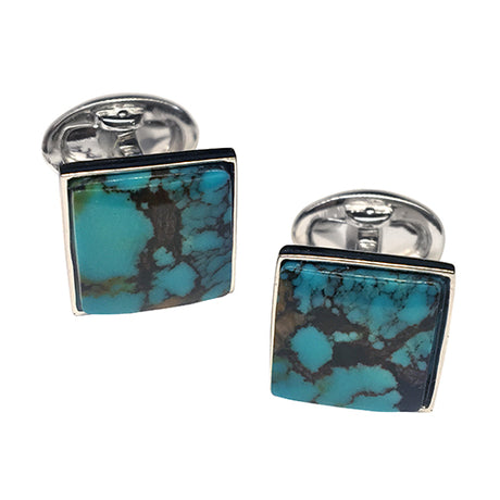 Kingman Turquoise Sterling Silver Cufflinks - Jan Leslie Cufflinks and Accessories