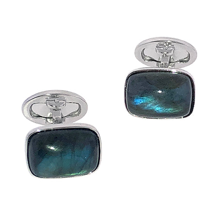 Blue Labradorite Rectangle Cufflinks - Jan Leslie Cufflinks and Accessories