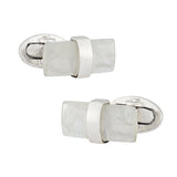 Moonstone Rectangular Sterling Silver Cufflinks - Jan Leslie Cufflinks and Accessories