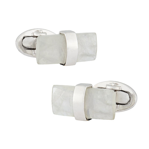 Moonstone Rectangular Sterling Silver Cufflinks