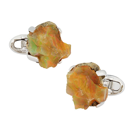 Ethiopian Opal Sterling Silver Cufflinks - Jan Leslie Cufflinks and Accessories