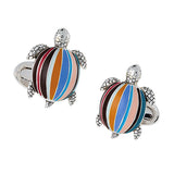 Turtle Cufflinks in Sterling Silver with Handpainted Enamel Shell