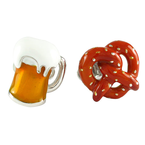 Sterling Silver Pretzel and Beer Mug Cufflinks