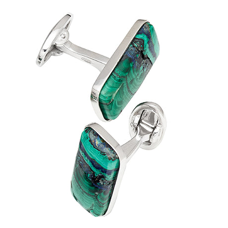 Natural Azurite Malachite Sterling Silver Oblong Cufflinks