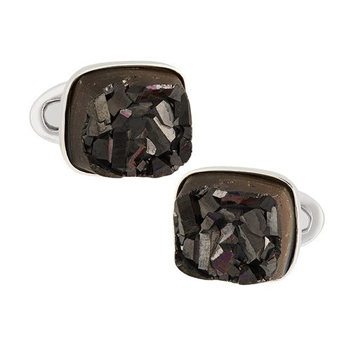 Melanite Garnet Druzy Sterling Silver Cufflinks - Jan Leslie Cufflinks and Accessories