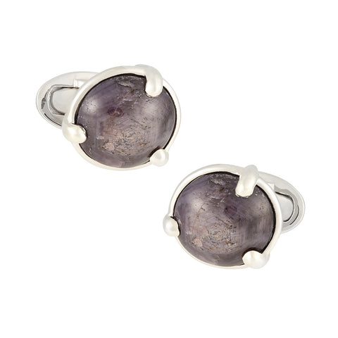 Star Ruby Sterling Silver Cufflinks