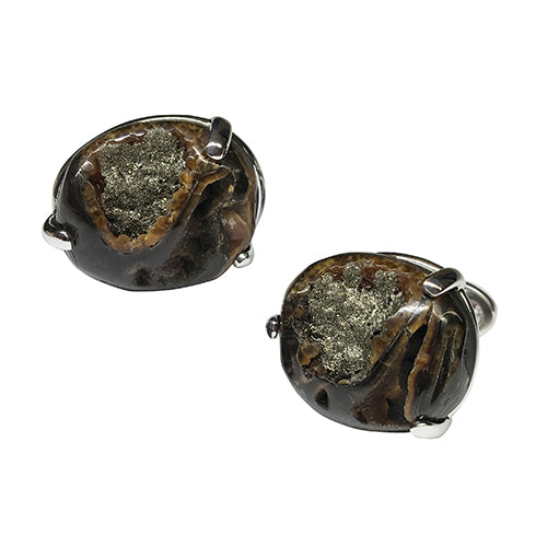 Ammonite Round Sterling Silver Cufflink - Jan Leslie Cufflinks and Accessories