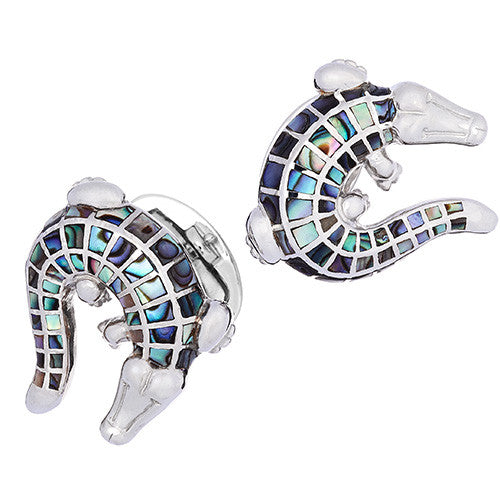 Abalone Gemstone Crocodile Cufflinks by Jan Leslie