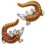 Orange Enamel Crocodile Cufflinks by Jan Leslie