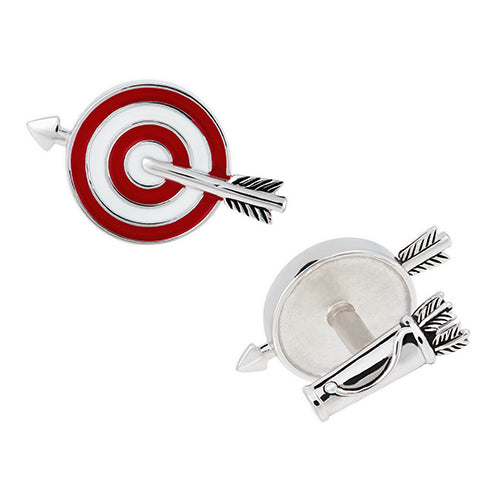 Target and Arrow Sterling Silver Cufflinks