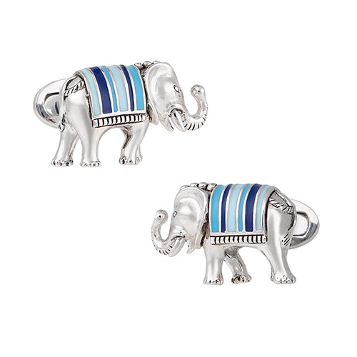 Sterling Silver Elephant Cufflinks with Handpainted Enamel Stripes - Jan Leslie Cufflinks and Accessories